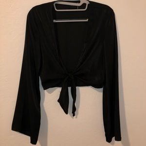 Urban Outfitters Tops - Out From Under Penelope Satin Tie Front Crop Top